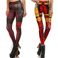 Wholesale female deadpool cosplay costume for sale - Cartoon Deadpool Sports Yoga Pants Women Sexy Fitness Tights Halloween Cosplay Skinny Leggings Costume Female Trousers Bodycon