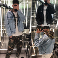 jaqueta de denim com capuz de duas peças venda por atacado-2019 Nova capuz Embroid Denim Jacket Moda Falso Two Pieces Hoodies Streetwear Denim Mens Jackets 29550