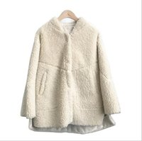 Wholesale lamb wool hooded parka resale online - 2019 Sheep shearing fur coats with hoody double face fur short coats for women warm parkas