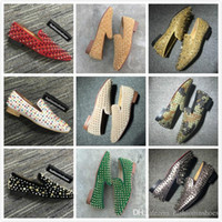 Wholesale white yellow men dress shoes for sale - Group buy size red bottoms loafer des chaussures gz men dress shoes vintage Casual Party Wedding Shoes cc spikes oversized loafers gg kanye sock