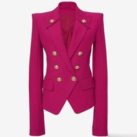 casaco duplo para mulheres venda por atacado-De ALTA QUALIDADE Mais Novo 2019 Designer Blazer Mulheres Collar Botões Double Breasted Botões de Metal Blazer Outer Wear rosa casaco vermelho mulheres