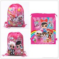 parti lehine çanta sırt çantası toptan satış-Karikatür saklama torbaları Doğum Günü Partisi Favor Kızlar için LOL bebek Hediye Çantası İpli sırt çantası çocuk oyuncakları paketi almak Yüzme plaj çantası