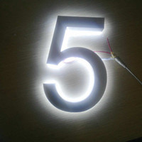 número de puerta iluminada al por mayor-Números de casa iluminados con LED de acero inoxidable impermeable al aire libre 3D números de puerta iluminados envío gratis