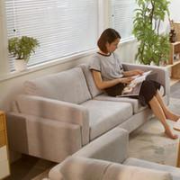 luxus wohnzimmermöbel großhandel-Einfaches Stoffsofa kleine Wohnung Möbelkombination im japanischen Stil, Wäsche-und-Wäsche-Wohnzimmer, luxuriöses, dreidimensionales nordisches Sofa