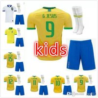 Wholesale brazil world cup jerseys for sale - Group buy kids kit brazil soccer jersey world cup G JESUS MARCELO COUTINHO PAULINHO football shirts camisa de futebol top quality