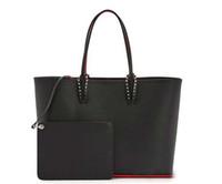 bolsas totes vermelhas venda por atacado-Christin Loubtin bolsas de grife vermelho fundo top quality moda composto bolsa mulheres bolsa de designer bolsa de couro genuíno sacos