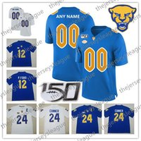 ingrosso jersey di calcio d'oro-Pittsburgh Panthers Pitt 2019 Custom Any Name Number 150TH Navy Royal Gold White # 2 Ffrench Donald 24 Conner P.Ford NCAA Football Jersey