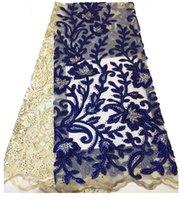 gele africano do lenço venda por atacado-Luxuious tecido de renda africano com stoens 5 metros de vinho bordado laço francês nigeriano tule tecido de renda DA06