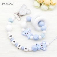 Wholesale baby name pacifier clips resale online - Silicone Koala Baby Pacifier Clips Personalized Name Soother Chain Teething Bracelet DIY Pacifier Chain Baby Teether Dummy Clips