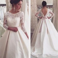 Wholesale simple elegant beach wedding dresses for sale - Group buy White Lace Appliques Backless Wedding Dresses Sleeves Elegant Simple Bridal Dresses Open Back Cheap Wedding Gowns