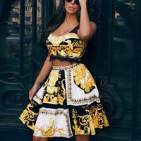 falda corta de encaje de dos piezas al por mayor-Para Insider Gold lace sexy conjunto de dos piezas trajes de mujer Top corto de verano una línea trajes de 2 piezas Conjunto de falda midi de cintura alta conjuntos