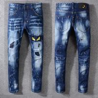 herren gemalte jeans großhandel-2019 neue Jeans Hohe Qualität Luxus Männer Designer Jeans Patch Schlank Farbe Kleine Füße Lokomotive Herren Jeans Größe 29-40