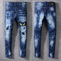 pequeños pies de jeans al por mayor-2019 Nuevos Pantalones Vaqueros de Alta Calidad de Lujo de Los Hombres Pantalones Vaqueros de Diseño Delgado de Pintura Pequeños Pies Locomotora Mens Jeans Tamaño 29-40
