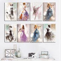 Wholesale oiled dancing resale online - Ballet Dance Girl Portrait Oil Painting on Canvas Posters and Prints Modern Scandinavian Nordic Wall Art Picture for Girl Room