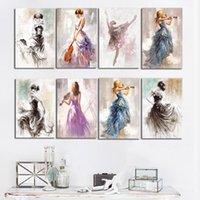 ölgemälde mädchen porträt großhandel-Ballett-Tanz-Mädchen-Portrait-Ölgemälde auf Leinwand Poster und Drucke Moderne skandinavischen Nordic-Wand-Kunst-Abbildung für Mädchen Zimmer