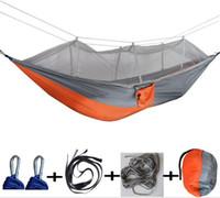 camas colgantes al aire libre para acampar al por mayor-Nueva casa hamaca mosquitera exterior campo de tela de paracaídas hamaca al aire libre jardín que acampa columpio colgando cama