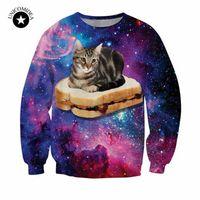 хараюку галактики толстовки оптовых-New harajuku style galaxy space cat sweatshirt 3d printed hoodies cute animal pattern funny cat sit on hamburger hoodies