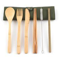 bambu mutfak bezleri toptan satış-7 Adet Set Yemek Bambu Çatal Seyahat Seti kaşık Çatal Bıçak chopstick hasır bez Çatal Bez Çanta ile Set Mutfak taşınabilir Gereçler