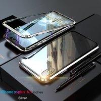 ingrosso taglio del diamante bordo-Diamante taglio bordo fino ad ora magnetica adsorbimento metallo magnete posteriore in vetro temperato per iPhone X 6 8 7 Plus XS Max XR Cover