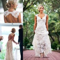 Discount bohemian chic wedding dresses Vintage Lace Cap Sleeve Country Garden Wedding Dresses Custom Make Keyhole Back Chic Rustic Cheap Bohemian Holiday Bridal Dress