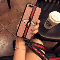 schmetterlingsseil großhandel-Mit Seil für Frauen Designer Phone Cases für iPhone XS MAX XR X XS 7 8 6 PLUS im europäischen Stil Tiger Bee Rose Schmetterling Tier Abdeckung