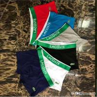 calção venda por atacado-19FW moda monograma estampado algodão dos homens roupa interior de algodão macio respirável cueca verde cinto apertado calções atacado