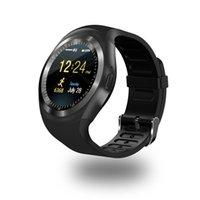 tarjetas de visita redondas al por mayor-Y1 Smart Watchs Soporte redondo Tarjeta Nano SIM TF con Whatsapp y Facebook Hombres Mujeres Business Smartwatch para teléfono Android
