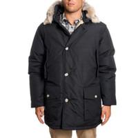 парковая куртка мужская чёрная оптовых-Зимняя куртка 2017 Черная куртка с капюшоном из меха Arctic Anorak Куртка толстая теплое пальто водонепроницаемая ткань одежды