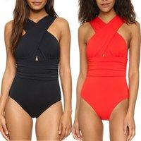 sırtsız monokin yastıkları toptan satış-Kadınlar Vintage Monokini Tek Parça Mayo Çapraz Dantelli Plaj Mayo Dolgu Backless Yüzme Spor Bikini Suit badpak