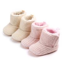 booties für babyjungen großhandel-Handgemachtes Neugeborenes Baby Krippe Schuhe Säuglingsjungen Mädchen Häkeln Strick Winter Warme Booties Halten Warm Auf Lager Schnelle Lieferung