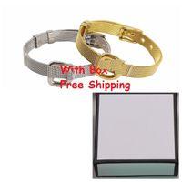 Wholesale titanium wrist watches resale online - Top New Classic Designer Jewelry Women Men Lady Mesh Gold Watch Belt Chain Bracelet Bangle Wrist Chain for Wedding Party Couple Lovers Gift