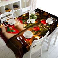 blauer lila blumenstrauß großhandel-Home Textile Tuch 1pc 3D Tuch Hochzeit Lila Blumenstrauß Tisch Tischtuch Frohe Weihnachten Rose Tischdecke Party-Dinner für Heim Decortion
