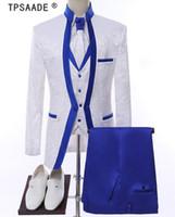 esmoquin de novio al por mayor-Blanco Royal Blue Rim Etapa Ropa Para Hombres Traje Set Para Hombre Trajes de Boda Traje Novio Esmoquin Formal (Chaqueta + pantalones + chaleco + corbata)