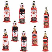 tampas decorativas da garrafa venda por atacado-Decorações do Natal criativo Papai Noel Boneco Elk Wine decorativa Bottle Bag Vinho do Natal dos desenhos animados Garrafa Tampa T3I5349