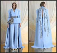 corte del desfile al por mayor-2019 Nuevos vestidos de baile azul cielo monos bordados Vestidos de noche formales Largo tren de barrido Corte especial Pageant Vestido de fiesta personalizado
