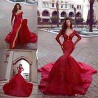 robe en satin col en v profond rouge achat en gros de-2020 Charme Red Prom robe de soirée longue sexy manches longues col en V profond Parti formel robe Appliqued gaine sirène Pageant Robes