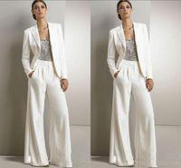 calças para mulheres chiffon formal venda por atacado-2019 Bling Lantejoulas Calças Brancas Ternos Mãe Da Noiva Vestidos Formais Chiffon Smoking Mulheres Desgaste Do Partido