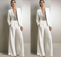 ingrosso abito formale si adatta donna madre sposa-2019 Bling paillettes bianchi pantaloni adatti alla madre della sposa abiti da smoking in chiffon formale per feste da donna