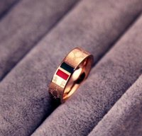 Wholesale diamond pattern steel resale online - European and American brands luxury k rose gold classic red and green pattern letters titanium steel ring couples ring ring