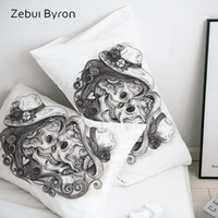 Wholesale 3d skull bedding for sale - Group buy 3D HD Pillow Case Pillowcase Custom x70 x75 x80 x70 Decorative Pillow Cover Black and white Skull Kiss Bedding Drop Ship
