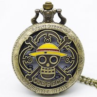 наручные часы магазин оптовых-Новая Мода One Piece Тема Череп Бронзовые Карманные Часы Ожерелье Античный Стимпанк Fob Часы Ожерелье Кулон