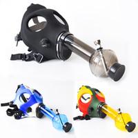 máscaras acrílicas venda por atacado-Máscara de gás com acrílico Fumando Bongo Tubo De Silicone Tabaco Shisha cachimbo de água cachimbo de água acessório de fumo frete grátis
