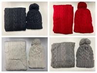 heiße neue beanies großhandel-neue heiße Qualitäts-Männer und Frauen Designer Hut Schal Set warme europäische High-End-Marke Hut Schal Mode-Accessoires Pullover Beanies
