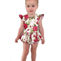 Wholesale petite summer clothing resale online – Rose Print Jumpsuits Newborn Baby Girl Clothes Short Sleeve Round Neck Chemical Fiber Blend Petite Bright