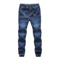 corda de denim venda por atacado-Algodão Denim Casual Elastic Draw Men String Calças de trabalho Calça Jeans Masculina