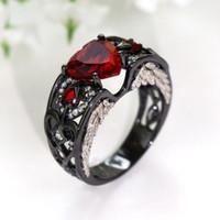 anel de faixa de ouro vermelho rubi venda por atacado-Enternity Sparkling Fashion Jewelry 10KT Black Gold Filled Heart Shape Red Ruby CZ Diamond Gemstones Party Women Party Wedding Wing Band Ring Gift