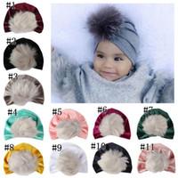 Wholesale winter pom beanies resale online - kids fall winter hats christmas fur pom poms hat baby velvet beanies bonnet girls indians muslim turban skull cap MMA1303