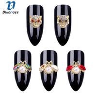 diseño de uñas arte rhinestone al por mayor-50 unids / lote 3D Nail Art Decoraciones DIY Glitter Rhinestones animales de la perla Studs Nails Design Nail Art accesorios