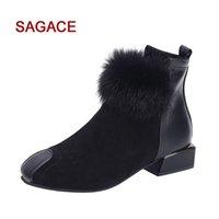 Wholesale d squared shoes for sale - Shoes HB Women Fluffy Faux Fur Martain Pumps Suede Ankle Pumps Square Toe Pumps