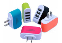 Wholesale adaptors resale online - Candy wall charger USB travel Adapter us plug Power Adaptor with triple USB Ports For samsung S8 smart Phone